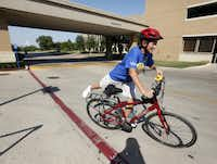 Tammy Beaumont heads out of her office at the Weight Management Institute at Methodist Hospital in Dallas for a bike ride. Beaumont works as the bariatric director of the Weight Management Institute where she helps patients with pre-operation education and post-operation support.