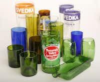 Glasses made from old bottles by Matt Staudenmaier in the studio, Wednesday, Oct. 10, 2013.