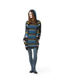 Knit hoodie, $49.99; short-sleeve knit dress, $54.99; space-dye tights, $16.