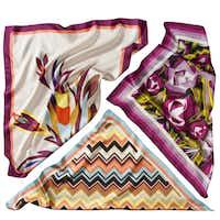 Silk scarves, $19.99 each