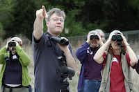 Small groups of avid bird-watchers  reserved places in advance to tag along after celebrity birder and author David Allen Sibley (pointing) as he walked Dogwood Canyon Audubon Center in Cedar Hill.Ben Torres - Special Contributor