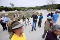 David Sibley, with hand on tripod, speaks about North Texas birds during a bird watching event conducted by him for the public, on Saturday, April 12, 2014 at the Dogwood Canyon Audubon Center in Cedar Hill. Sibley, the guru of the U.S. bird world, visited Dallas for the release of his updated Guide to Birds along with conducting bird watching tours.Ben Torres  -  Special Contributor