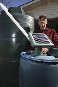 Brad Ackerman, a Kaufman County master gardener and rainwater harvesting specialist, has installed multiple tanks and barrels to ensure he has enough water for his animals, small orchard and plants.