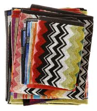 Flame Stitch patterns for home trend feature, photographed August 16, 2012. Missoni towels and hand towels, $95-$99/set.