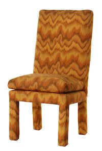 Flamestitch pattern upholstered vintage chairs, photographed August 10, 2012. Chair is Parsons style, Milo Baughman for Thayer Coggins.