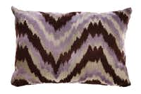 Flamestitch pattern purple velvet pillow from HomeGoods, photographed August 10, 2012.