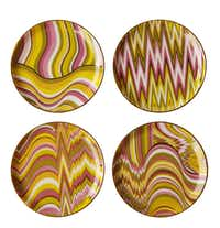 Flame Stitch patterns for home trend feature, photographed August 16, 2012. Acid Palm coasters, $68, Jonathan Adler.