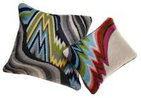 Flame Stitch patterns for home trend feature, photographed August 16, 2012. Bargello Jungle Road pillow (large), $150, and Bargello Jamaica Lane pillow, $120, (small), both at Jonathan Adler.