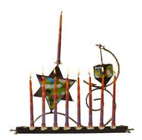 HANUKKAH LIGHT: A limited-edition, contemporary menorah by artist Gary Rosenthal combines colorful fused glass with welded metal, incorporating both a Star of David and a dreidel. $135 at the Source Gift Shop, Jewish Community Center of Dallas, North DallasEvans Caglage - Staff Photographer