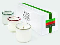 A set of three in seasonal scents of Tree, Berry and Feu de Bois, these holiday mini candles provide hours of aromatherapy. $85 at Lafco, Highland Park.(LAFCO)