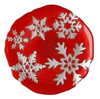Serve holiday guests with festive glass snowflake plates, 8.25 inches round. $18 each at Nicholson-Hardie Nursery & Garden Center, Dallas, and Culinary Connection, Plano