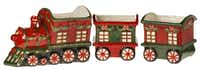 A ceramic Christmas train in bright red and green is perfect for holding festive plants or serving holiday snacks. The three-piece set includes an engine (12-inch by 6-inch) and two cars (6-inch by 5.5-inch). $62 at Panache at Home, Frisco