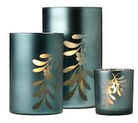 Add a silvery glow to mantel or table with blue frosted votive and tea-light holders with mistletoe motif. The 3-inch tea-light, 6-inch votive and 8-inch votive holders are $6, $15 and $18 at Mary Cates, Dallas.