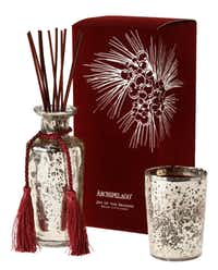 """A bouquet of pine, bayberry and clove from Archipelago's """"Joy of the Season"""" candle and diffuser brings holiday cheer. The 7.6-ounce candle and diffuser in mercury glass containers are $32 and $48.99 at Petals & Vine, McKinney, and Nicholson-Hardie Nursery & Garden Center, Dallas"""