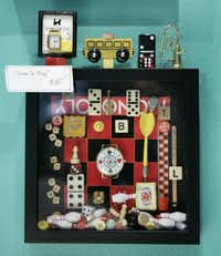 """Time to Play"" by shadowbox artist Laurie McClurg in her studio, photographed October 5, 2012. Her studio will be part of the 20th annual White Rock Lake Artists' Studio Tour."
