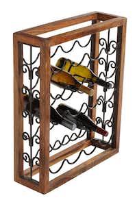 Wrought iron and wood Wine Rack, $35, from The Samaritan Inn's thrift shop