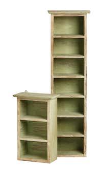 Shabby Chic Sage Green Shelves, tall $15, short $12, from The Samaritan Inn's thrift shop