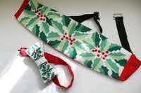 Jerre Tracy contributed a needlepoint cummerbund and bow tie to the upcoming exhibit at Thistle Hill in Fort Worth. More than 60 needlepoint stitchers are contributing their handiwork in an exhibit filled with pillows, portraits, cummerbunds, bow ties, knick-knacks, purses,and holiday figures and stockings to be displayed at Thistle Hill in Fort Worth, Texas.