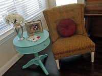 A side table is painted with the CeCe Caldwell brand.
