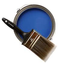 """Paint the town cobalt: Accent a wall with Behr premium interior flat-base paint in Jazz Blue ($19.97/gallon) and an All Paints """"Good"""" 3-inch brush ($7.87). Both at Home Depot, multiple locations."""
