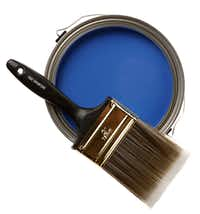 "Paint the town cobalt: Accent a wall with Behr premium interior flat-base paint in Jazz Blue ($19.97/gallon) and an All Paints ""Good"" 3-inch brush ($7.87). Both at Home Depot, multiple locations."