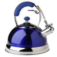 Whistling the blues: Get vibrant color (topped with a translucent finish) with the Master Class whistling kettle. $19.99 at Home Goods, multiple locations.