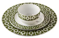 Eat in style with Jonathan Adler's porcelain Green Nixon dinner plate, $16; dessert plate, $12; and cup, $10. At Jonathan Adler, Dallas.