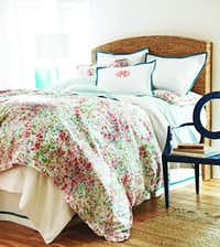Watercolor dreamer: A splashes-of-color coverlet was named after the granddaughter of Peacock Alley founder Mary Ella and is reminiscent of an impressionistic watercolor painting. Eloise queen-size duvet cover, $350, and standard-size shams, $100 each, at Peacock Alley and peacockalley.com. Also pictured: Napa coverlet in white, Emma sheeting in aqua, pique tailored shams in aqua and pique tailored bedskirt.Supplied  - SUPPLIED