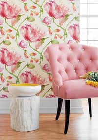 Paper that pops with color: Wallpaper and fabric designer Anna French teamed up with Thibaut for a namesake collection of papers. Her Zola collection Tuileries print is a beautifully feminine watercolor spin on tulips. It's available in five hues, from purple to pink. $63 per single roll at Rutherford's Design; find more retailers at thibautdesign.com.Supplied  - SUPPLIED