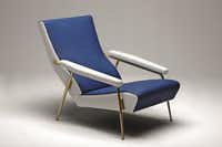 This armchair is a Molteni&C reproduction of the armchair designed by Gio Ponti in 1953 for the living room of his Via Dezza home. It's combination of white and blue leather, and has a satin brass frame. It will be on display in an exhibition at Smink in Dallas beginning May 2 through Oct. 2.