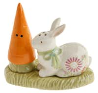 A diminutive 3-inch, ceramic salt and pepper set distribute the spices with a carrot and rabbit. $17.95 from La Foofaraw, Plano.