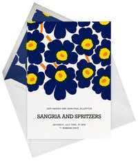 Paperless Post's new Marimekko collection uses Unikko in a variety of color palettes for online invitations, announcements and note cards. Priced from 25 cents per digital card and $1 for flat-printed cardstock at paperlesspost.com.( Paperless Post )