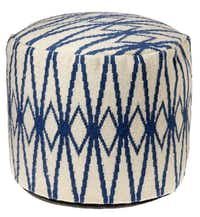 GO BOLD: The deep-blue Diamond pouf, 22 inches in diameter, is crafted with a tough woven wool. $179 at Wisteria, Dallas, and wisteria.com.