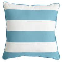 Show your stripes: Decorate chairs and benches with 17-inch-square striped ($14.98) or geometric ($16) pillows in mildew-resistant, UV-treated fabric. Patterned on one side, solid on the other. Pier 1 stores and pier1.com