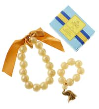 Lightly scented, handcrafted necklaces and bracelets of soap. $22.50 and $39.99 at St. Michael's Women's Exchange, Dallas.