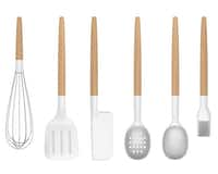 Universal Expert Collection tools by Sebastian Conran, crafted with silicone and beech wood, include, from left: whisk, $12, spatula, $10, scraper, $10, slotted spoon, $12, shallow spoon, $10, and brush, $10.
