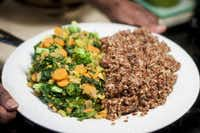 """Richardson is a big believer in vegan meals such as quinoa and sauteed vegetables. """"You can control everything that has to do with your health by what's at the tip of your fork."""""""