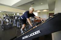 Joe Kalka worked out on the Jacobs Ladder cardio machine at the Royal Oaks Country Club recently. Kalka mixes up his workouts with Bikram yoga, aerobic exercise and weights.
