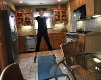 """You don't need a lot of space for a workout, says Louis, who did jumping jacks in her kitchen. """"It doesn't require specialized knowledge or fancy equipment, just dedication."""""""