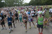Runners wait for the start of the Hottest Half at Norbuck Park on Sunday, August 12, 2012(Rex C. Curry)