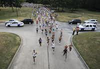 Runners begin the Hottest Half at Norbuck Park on Sunday, August 12, 2012(Rex C. Curry)