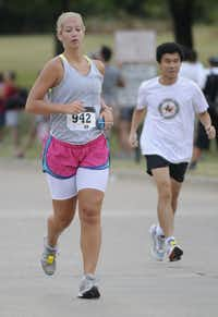 Paige Eversole begins the Hottest Half at Norbuck Park on Sunday, August 12, 2012(Rex C. Curry)