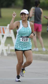 Melanie Humphrey is one of many who ran in Hottest Half at Norbuck Park on Sunday, August 12, 2012(Rex C. Curry)