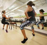 Kerry McStay (left) and Elizabeth Lindberg demonstrate simple exercises you can do anywhere.