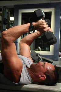 When doing the triceps extension and other exercises, David Whitefield recommends to keep going until the muscles beg you to stop.