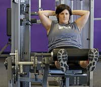 Shelly James of Wylie has lost more than 70 pounds since March and continues to keep the weight off despite being pregnant. She works out at the 24Xpress in Sachse.