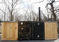A smoker and cooking area outside a treehouse built by Pete Nelson for Bobby and Marty Page in Malakoff, Texas, on Friday, March 14, 2014. Nelson is part of the Animal Planet's television show Treehouse Masters.Vernon Bryant  -  Staff Photographer