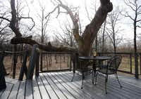 A dining area outside a treehouse built by Pete Nelson for Bobby and Marty Page in Malakoff, Texas, on Friday, March 14, 2014. Nelson is part of the Animal Planet's television show Treehouse Masters.Vernon Bryant  -  Staff Photographer