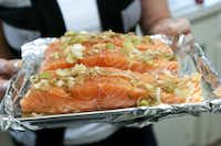 One of the dishes that registered dietician, Robin Plotkin, helped the Green family prepare in their home was a Asian inspired salmon.