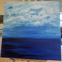 A unfinished seascape by Dr. Deb McLachlan, a client at The Art Station in Fort Worth photographed Tuesday September 30, 2014. She had no formal art training and was a first time painter when coming to her sessions.( Ron Baselice  -  Staff Photographer )